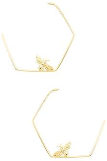 Gold Finish Killer Bee Hoops Earrings by Varnika Arora