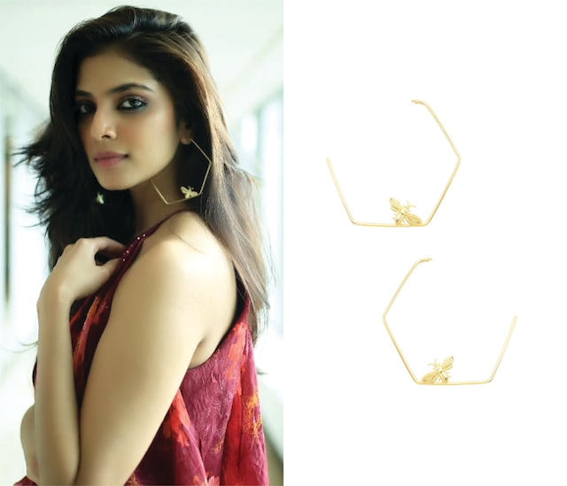 Gold Finish Killer Bee Hoops Earrings by Varnika Arora
