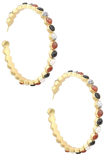 Gold Finish Insectopedia Hoops Earrings by Varnika Arora