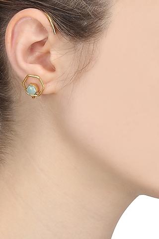 Gold Finish Amazonite Studded Ear Cuffs by Varnika Arora