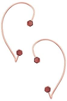 Gold Finish Hydro Pink Quartz Ear Cuffs by Varnika Arora