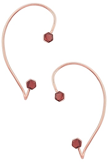 Gold Finish Hydro Pink Quartz Ear Cuffs by Varnika Arora