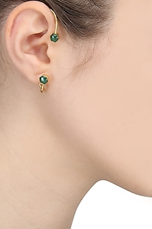 Gold Finish Green Onyx Ear Cuffs by Varnika Arora