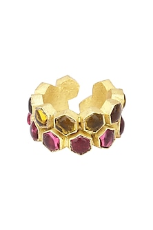 Gold Finish Bear and Pink Quartz Beehive Ring by Varnika Arora