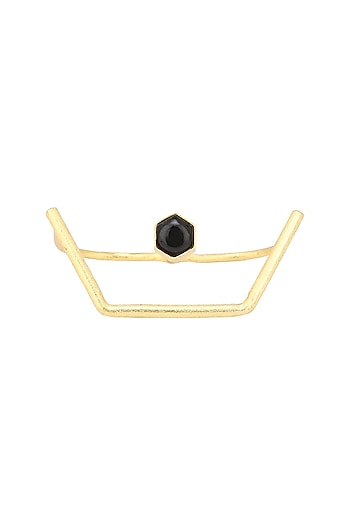 Gold Finish Geometrical Dexterity Ring by Varnika Arora