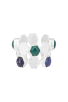 Silver Finish Lapis and Green Onyx Ring by Varnika Arora