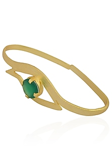 Gold Plated Green Onyx Stone Eye Shaped Palm Cuff by Varnika Arora