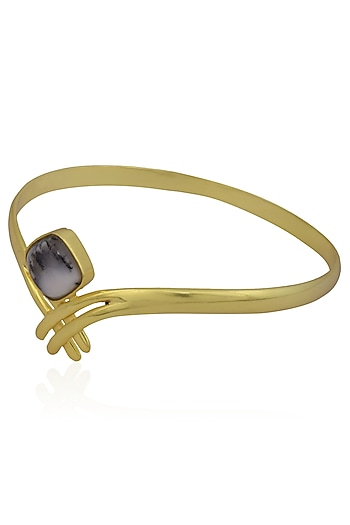 Gold Plated Dendritic Agate Stone Statement Bangle by Varnika Arora