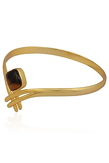 Gold Plated Tiger's Eye Stone Statement Bangle by Varnika Arora