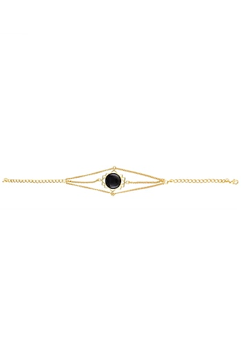 Gold Plated Cut Black Onyx Stone Statement Armlet by Varnika Arora