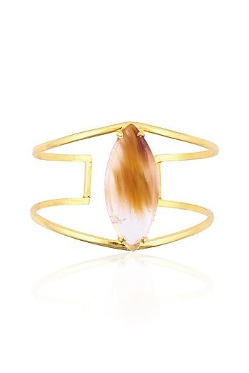 Gold Plated Yellow Rutile Stone Statement Hand Cuff by Varnika Arora