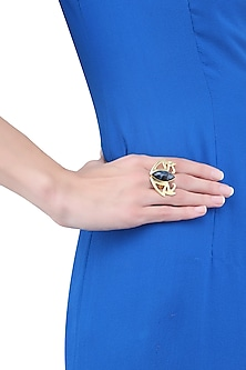 Gold Plated Cut Petersite Stone Statement Edgy Ring by Varnika Arora