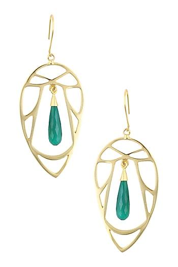Gold Plated Green Onyx Semi Precious Stone Statement Earrings by Varnika Arora