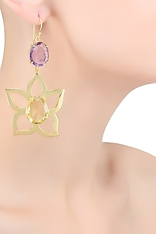 Gold Plated Purple and Green Amethyst Flower Earrings by Varnika Arora