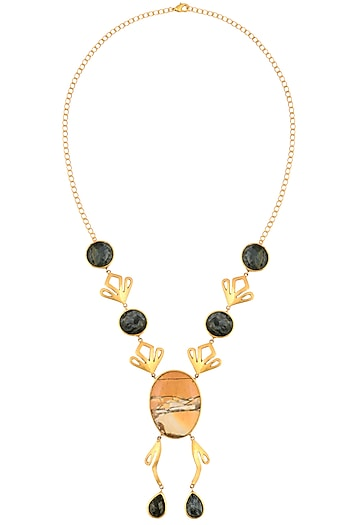 Gold Plated Petersite And Brecciate Mookite Pendant Drop Necklace by Varnika Arora