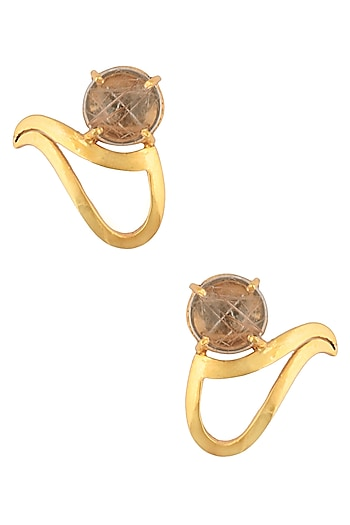 Gold Plated Yellow Rutile Quartz Stone Stud Earrings by Varnika Arora