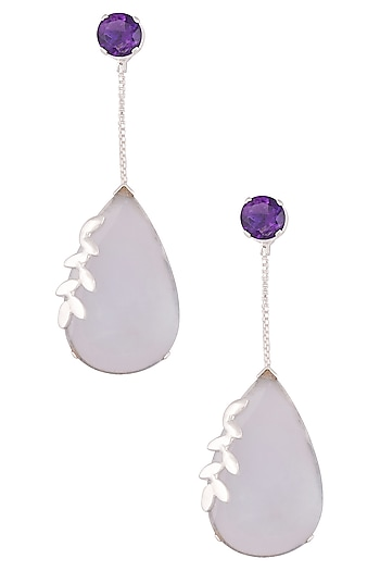 Silver plated amethyst and chalcedony stone drop earrings by Varnika Arora