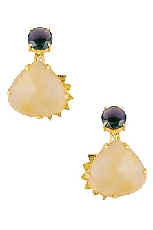 Gold Plated Amethyst Stone And Yellow Rutile Quartz Stone Drop Danglers by Varnika Arora