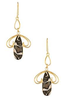 Gold Plated Peanut Jasper Wood Stone Earrings/ Maangtikka by Varnika Arora