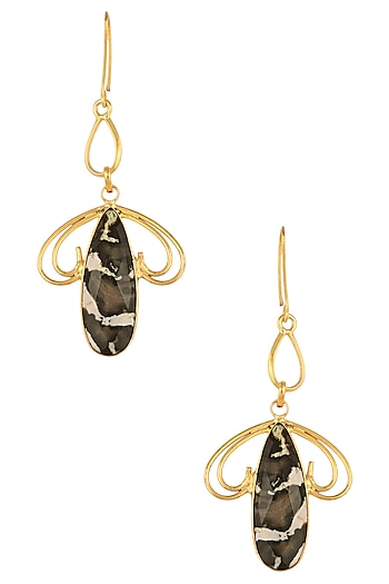 Gold Plated Peanut Jasper Wood Stone Earrings/ Maangtikka by Varnika Arora