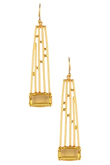 Gold Plated Citrine Stone Geometric Earrings by Varnika Arora