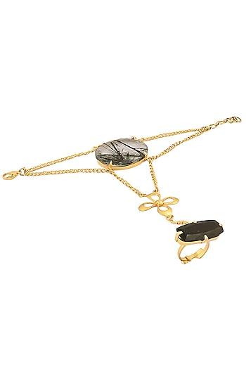 Gold Plated Tourmaline Quartz And Black Onyx Stone Hand Harness by Varnika Arora