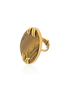 Gold Plated Tiger'S Eye Adjustable Ring by Varnika Arora