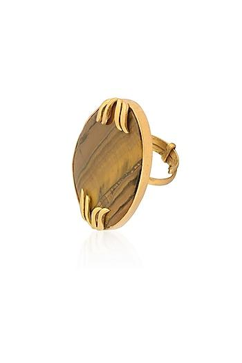 Gold Plated Tiger'S Eye Adjustable Ring by Varnika Arora