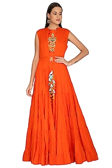 Orange Embroidered Crop Top With Palazzo Pants & Jacket by Vasavi Shah