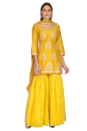 Mustard Yellow Embroidered Sharara Set by Vasavi Shah