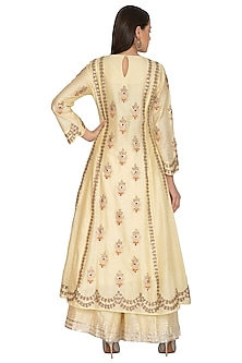 Ivory Embroidered Sharara Set by Vasavi Shah