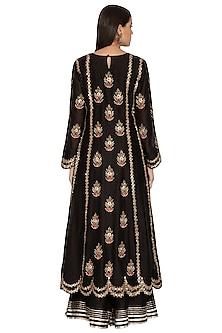 Black Embroidered Crushed Sharara Set by Vasavi Shah