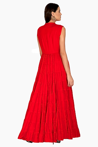 Red Embroidered Crop Top With Palazzo Pants & Jacket by Vasavi Shah