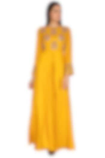 Mustard Yellow Umbrella Cut Embroidered Kurta by Vasavi Shah