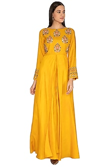 Mustard Yellow Umbrella Cut Embroidered Kurta by Vasavi Shah