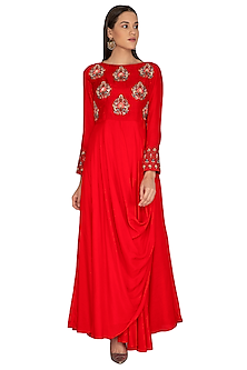 Red Umbrella Cut Embroidered Kurta by Vasavi Shah