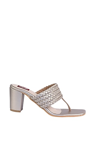 Cream Gold Sandals With Block Heels by Veruschka By Payal Kothari