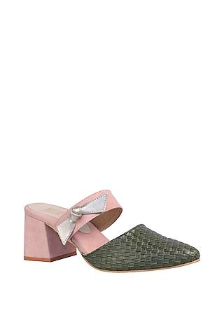 Green & Pink Mules With Geometric Block Heels by Veruschka By Payal Kothari