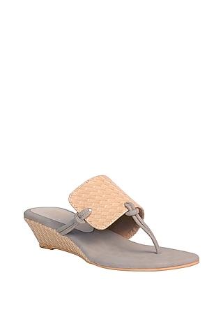 Yellow & Grey Textured Sandals by Veruschka By Payal Kothari