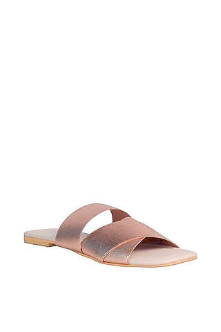 Rose Gold & Cream Adjustable Flats by Veruschka By Payal Kothari