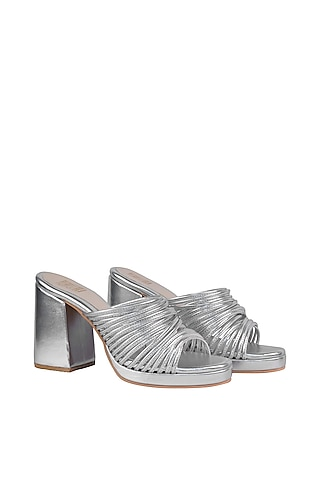 Silver String Sandals With Block Heels by Veruschka By Payal Kothari