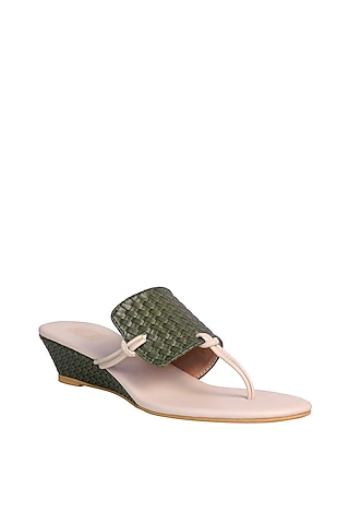 Green & Cream Wedges With Woven Textured Upper by Veruschka By Payal Kothari
