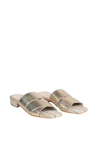 Gold & Cream Strappy Sandals by Veruschka By Payal Kothari