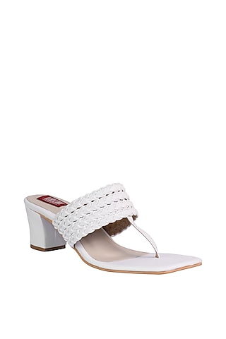 White Sandals With Pleated Upper Straps by Veruschka By Payal Kothari