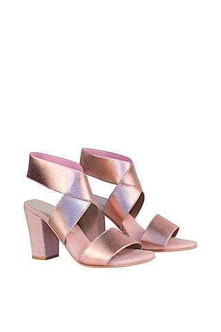 Rose Gold & Pink Adjustable Bandage Sandals by Veruschka By Payal Kothari