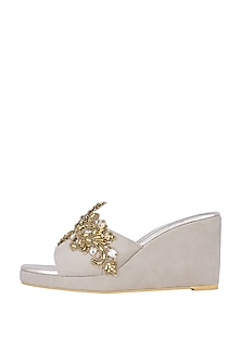 Off White & Gold Embroidered Slip On Wedges by Veruschka by Payal Kothari