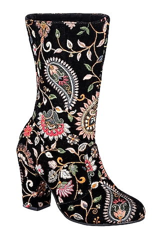 Black Embroidered Calf Length Boots by Veruschka By Payal Kothari