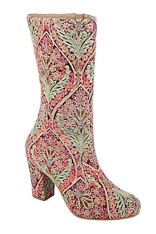 Multi Colored Embroidered Calf Length Boots by Veruschka By Payal Kothari