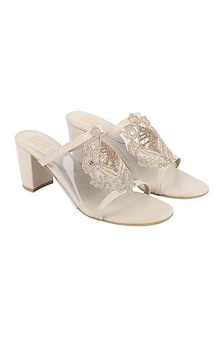 Cream & Gold Block Heels With Clear Upper by Veruschka By Payal Kothari
