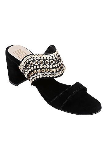 Black & Gold Embroidered Block Heels by Veruschka By Payal Kothari